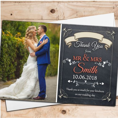 10 Personalised Premium Chalkboard Style Wedding Thank you Photo Cards N259